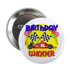 Racecar 6th Birthday Button