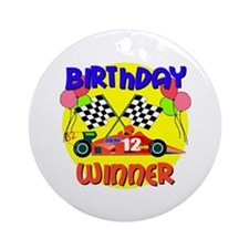 Racecar 12th Birthday Ornament (Round)