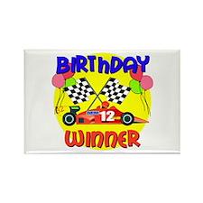 Racecar 12th Birthday Rectangle Magnet