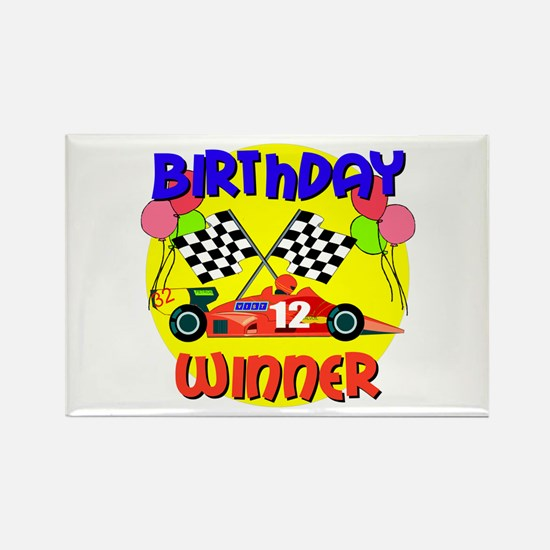 Racecar 12th Birthday Rectangle Magnet