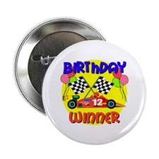 Racecar 12th Birthday Button