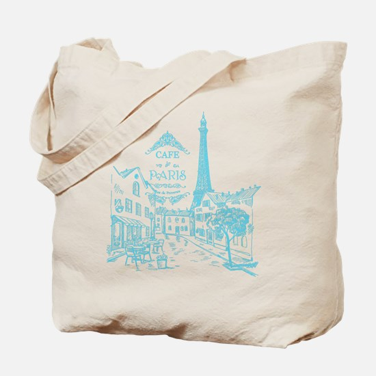 Teal Paris Cafe Tote Bag