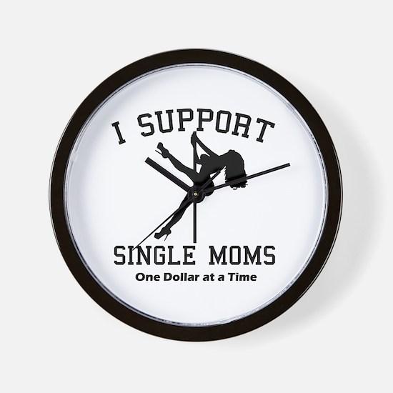 BLK I Support Single Moms Wall Clock