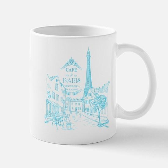Teal Paris Cafe Mugs