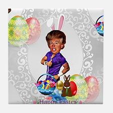 easter bunny donald trump Tile Coaster