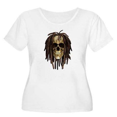 Dreadlock Skull Women's Plus Size Scoop Neck T-Shi