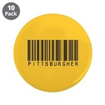 "Pittsburgher Barcode 3.5"" Button (10 pack)"