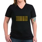 Pittsburgher Barcode Women's V-Neck Dark T-Shirt