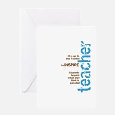 Teacher's Inspire (Blue/Brown Greeting Card