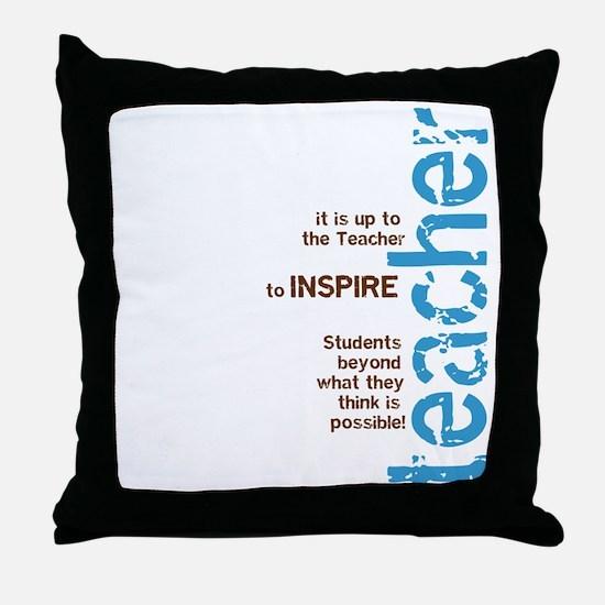 Teacher's Inspire (Blue/Brown Throw Pillow