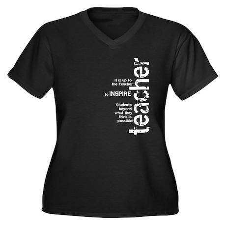 Teachers Inspire (White on Da Women's Plus Size V-