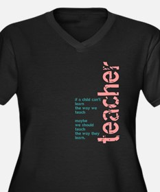 If a Child can't Learn (Pink/ Women's Plus Size V-
