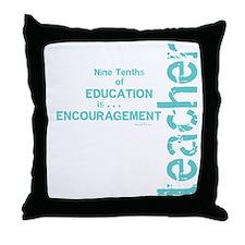 Teacher Encouragement (blue) Throw Pillow