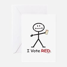 Stick Figure Vote Red Greeting Cards (Pk of 10)