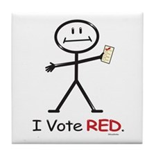 Stick Figure Vote Red Tile Coaster