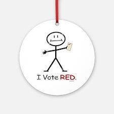 Stick Figure Vote Red Ornament (Round)