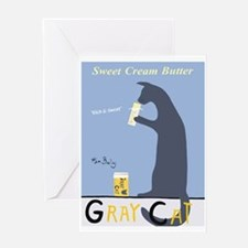 Gray Cat Butter Greeting Card