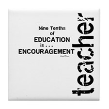 Teacher Encouragment (Black) Tile Coaster