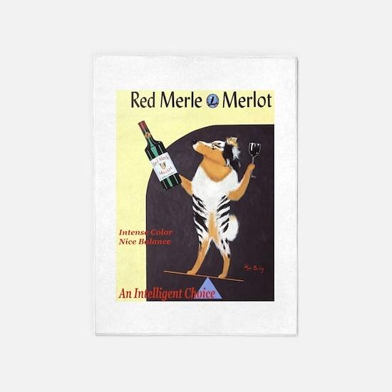 Red Merle Merlot 5'x7'Area Rug