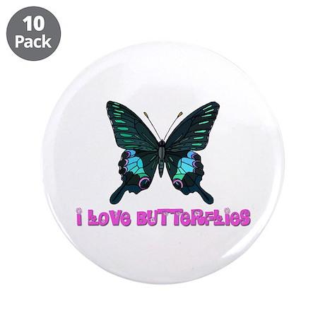 """I Love Butterflies 3.5"""" Button (10 pack)"""