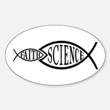 Science Trumps Faith Oval Decal