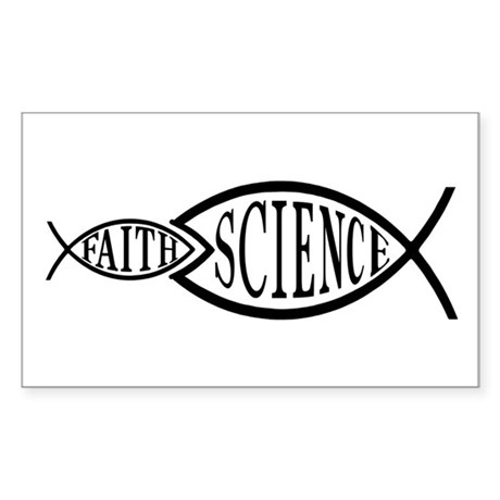 Science Trumps Faith Rectangle Sticker