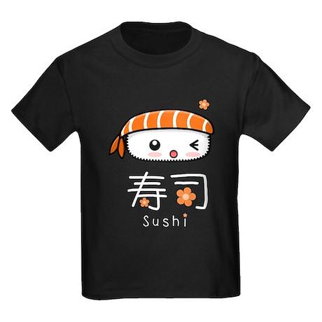 Kawaii Nigiri Sushi Kids Dark T-Shirt