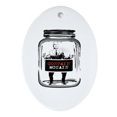 Contain McCain (in a jar) Oval Ornament