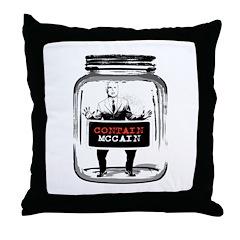 Contain McCain (in a jar) Throw Pillow