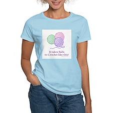 Balls to Crochet Women's Pink T-Shirt