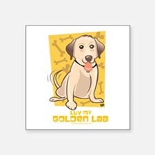 "Luv Golden Square Sticker 3"" x 3"""