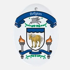 Belgian Horse Coat Of Arms Oval Ornament