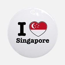 I love Singapore Ornament (Round)