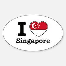 I love Singapore Oval Decal