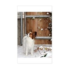 Papillon by the Fence Rectangle Decal