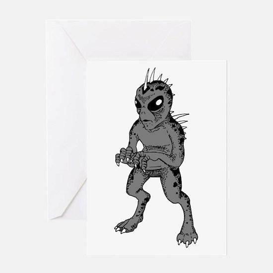 Grey Alien Chupacabra Greeting Card