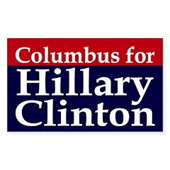 Columbus for Hillary Clinton car decal