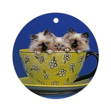 Kittens in a teacup Ornament (Round)