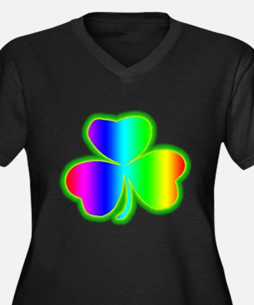 Rainbow Shamrock Women's Plus Size V-Neck Dark T-S