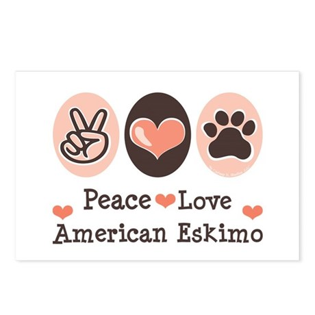 Peace Love American Eskimo Postcards (Package of 8