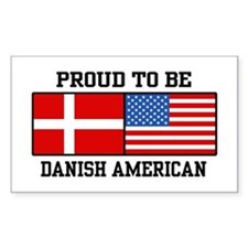 Proud Danish American Rectangle Decal