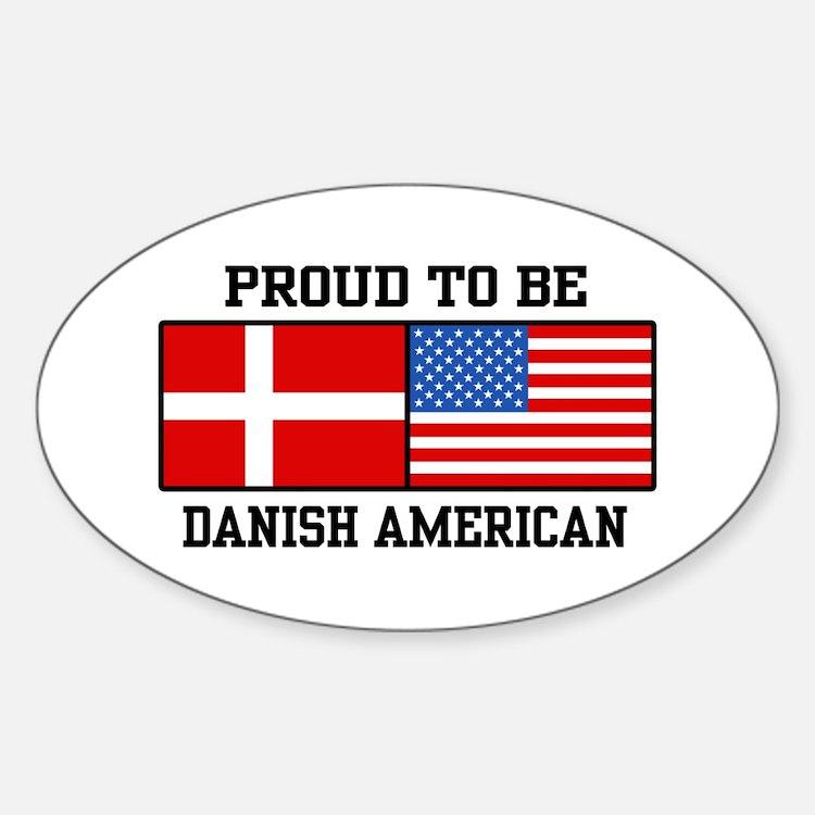 Proud Danish American Oval Decal