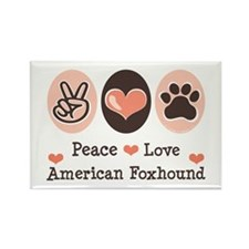 Peace Love American Foxhound Rectangle Magnet (10