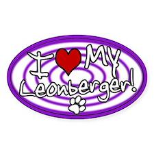 Hypno I Love My Leonberger Oval Sticker Purple