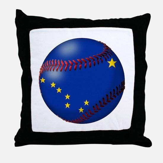 Baseball Alaska Flag Throw Pillow