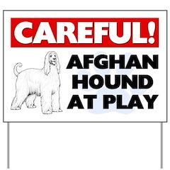 Afghan Hound At Play Yard Sign