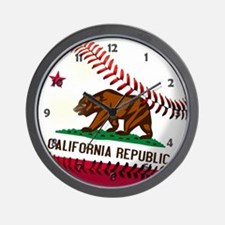 Baseball California Flag Wall Clock