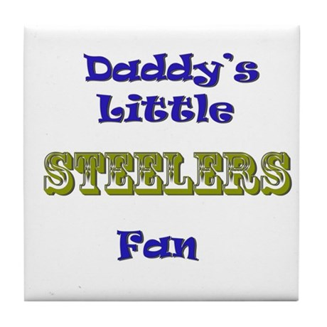 daddy's little steeler fan bo Tile Coaster