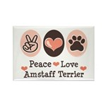 Peace Love Amstaff Terrier Rectangle Magnet (100 p