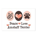 Peace Love Amstaff Terrier Postcards (Package of 8